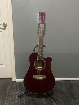 burgundy de rosa 12 string electric acoustic guitar with cable strap and case for Sale in South Gate, CA
