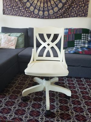 White Wooden Rolling Desk Chair for Sale in Lewisville, TX