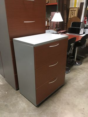 Soak his medium cherry and light gray lateral filing cabinets for Sale in Phoenix, AZ