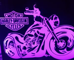 Fat tire harley etched lighted mirror for Sale in Denver, CO