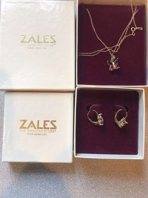 14k gold Butterly stone Pierced earrings and 14k solid gold stone chain From Zales Jewler for Sale in Revere, MA