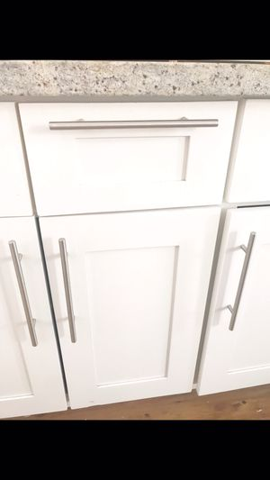 60+ SOLID STAINLESS STEEL SATIN NICKEL CABINET/DRAWER PULLS for Sale in Draper, UT