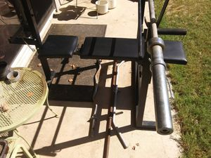 Olympic Bench with bar and weight rack for Sale in Phoenix, AZ