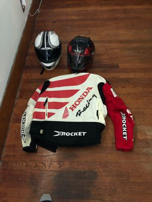 Motorcycle jacket and two helmets for Sale in Highland Park, MI