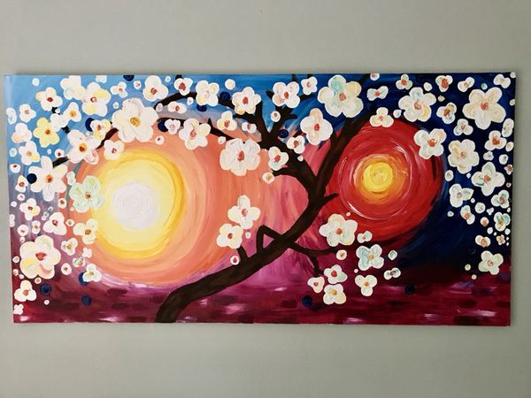 Sunset Flower Painting on Canvas- Handpainted Art!