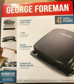 George Foreman 4 Serv. Grill& Panini w/ Removable Dishwasher Safe Tray GRP3260GM new in box for Sale in Marietta, GA