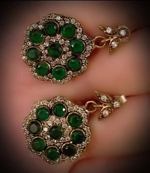 EMERALD FLOWER DANGLE POST EARRINGS Solid 925 Sterling Silver/Gold WOW! Brilliantly Faceted Round Cut Gems, Diamond Topaz M5433 V for Sale in San Diego, CA