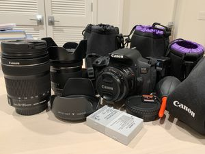 Canon EOS Rebel T5i/700D w/ 18-135mm, 10-18mm and 50mm lenses for Sale in Redwood City, CA