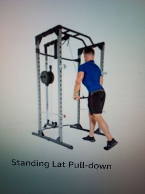 Squat rack cage and pull down no row cable attachment for Sale in Riverside, CA