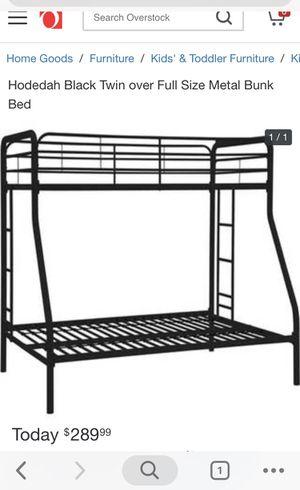 Hodedah black twin over full size Metal bunk bed for Sale in Holmdel, NJ