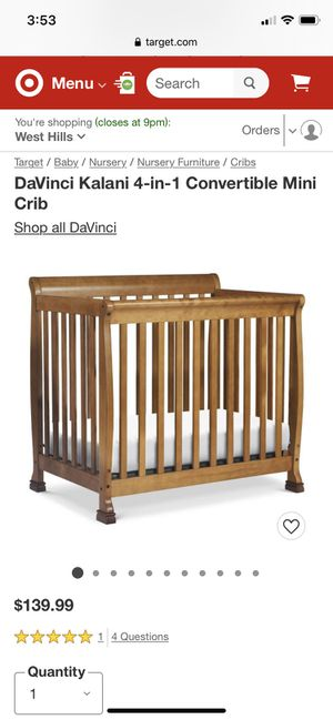DaVinci Kalani 4 in 1 mini crib . $80 used once. My daughter never wanted to sleep in it . $80 for crib. Mattress and crib $100 all together for Sale in Chatsworth, CA