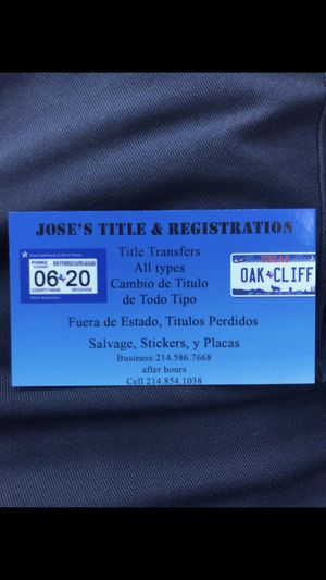 Titles and Registration for Sale in Dallas, TX
