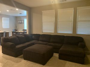 Sectional couch with ottoman for Sale in Lake Elsinore, CA