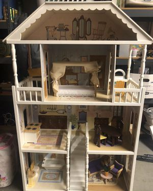 Wood doll house with accessories for Sale in Lake Stevens, WA