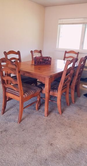 Farmhouse wooden table with 6 matching chairs for Sale in Lewis McChord, WA