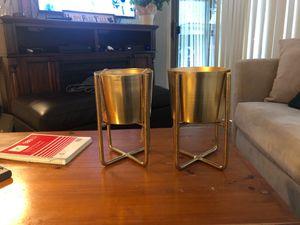 Gold plant holders decor for Sale in Phoenix, AZ