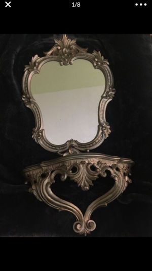Home Interior Decor Mirror and matching shelf, silver in color. for Sale in Concord, NC