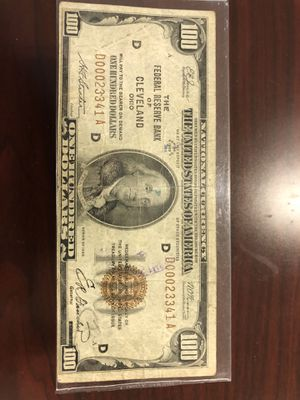 $100 Federal Reserve Note 1929 vg-fine. Ink stains. Price is FIRM for Sale in Victoria, TX