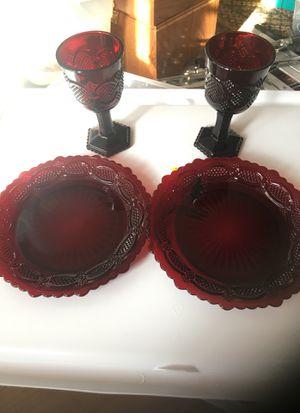 Avon 1876 cape cod collection Dessert plates and wine glass set for Sale in Stickney, IL