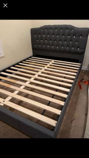 Queen Size Bed Frame, Blue Grey Color for Sale in Garden Grove, CA
