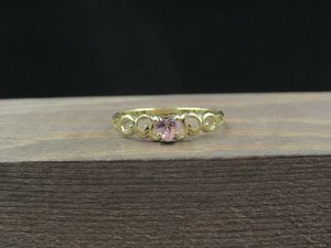 Size 8.25 10K Gold Cubic Zirconia Pink Heart Band Ring Vintage Estate Wedding Engagement Anniversary Gift Idea Beautiful Elegant Unique Cute for Sale in Everett, WA