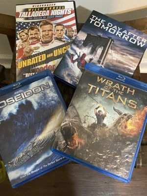 Lot of 4 movies , 3 blu ray for Sale in Knightdale, NC