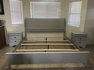 ASHLEY FURNITURE KING SIZE BED FRAME AND 2 NIGHTSTANDS $350obo for Sale in Phoenix, AZ