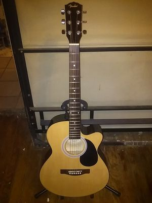 Fender FA135 CE acoustic/ electric guitar with gig bag and accessories for Sale in Denton, TX