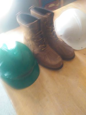Selling 2 hardhats & polo work boots for Sale in Newport News, VA