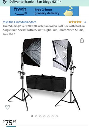 Lightly used LimoStudio [2 Set] 20 x 28 inch Dimension Soft Box with Built-in Single Bulb Socket with 85 Watt Light Bulb, Photo Video Studio, AGG2557 for Sale in Chula Vista, CA