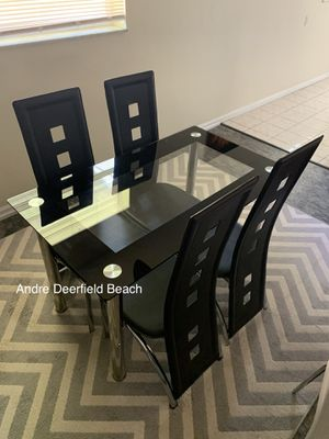 Black Dining Table Set with Tempered Glass Top Table & 4 Chairs - Kitchen Furniture Set for Sale in Deerfield Beach, FL
