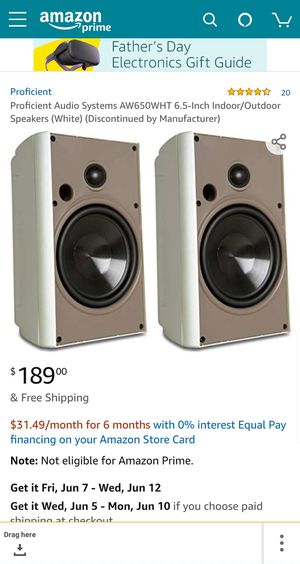 BRAND NEW PROFICIENT AW650 INDOOR OUTDOOR SPEAKERS (PAIR) for Sale in Los Angeles, CA