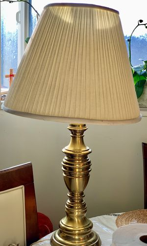 "Vintage Brass Leviton Table Lamp 26""tall with Original Pleated Shade 14"" tall for Sale in Mountain View, CA"