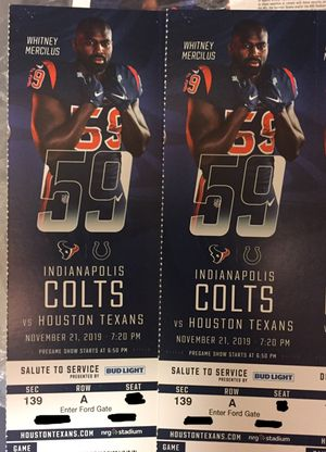 2 TNF Front Row Texans Colts Sec 139 Row A for Sale in Friendswood, TX