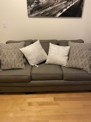 Full size sleeper sofa in good condition. Arm on right side a little loose but in good condition. Memory foam mattress as well for Sale in Brockton, MA