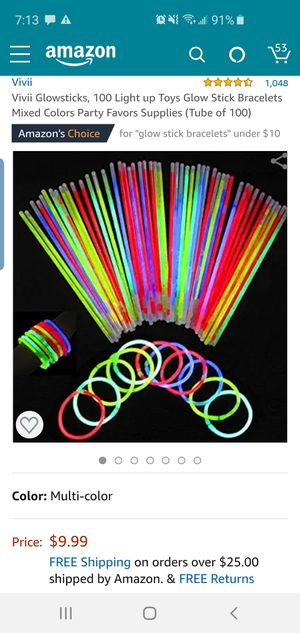 New glowstick bracelets multicolored 100ct for Sale in Grand Prairie, TX