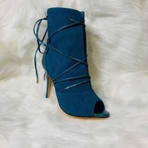 Women Peep Toe Suede Ankle Booties Lace Up Shoes for Sale in Temple City, CA