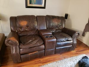 Leather recliner rocker sofa for Sale in Fresno, CA