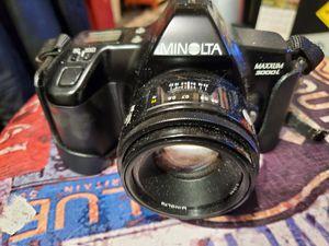 Minolta SLR Style combined manual and digital Minolta maxxunm3000 i 35 mm camera full black body for Sale in Croydon, PA