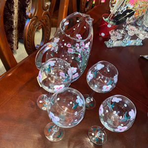 Glass Jar With Matching Wine Glasses for Sale in Santa Clarita, CA