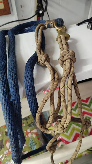 Brown rope halter and navy lead rope. for Sale in Snohomish, WA
