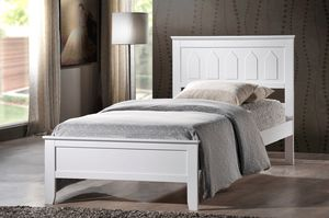TWIN - White Wooden Platform Bed Frame (Fully Slated) for Sale in Pomona, CA