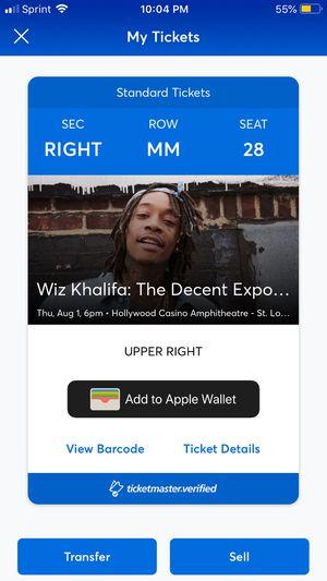 Wiz Khalifa Concert Ticket for Sale in Wentzville, MO