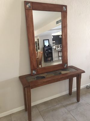 Cost Plus World Market console table and mirror for Sale in Scottsdale, AZ