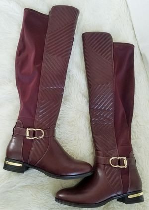 BRAND NEW NEVER WORN Ladies Women Woman Gold Buckle Studs Studded Deep Rich Wine Burgundy Quilted High Knee Riding Boots Sz Size 9 for Sale in Monterey Park, CA