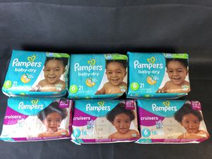 Lot 6 Pampers Size 6 Baby Dry and Cruisers (bundle as shown only) for Sale in Melvindale, MI