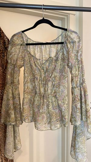 Vintage Forever 21 Sheer Paisley Flowing Bell Sleeve Peasant Top for Sale in Tacoma, WA