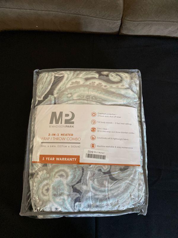 MP2 Fleece Heated Blanket Wrap Shawl, Wearable Electric Poncho