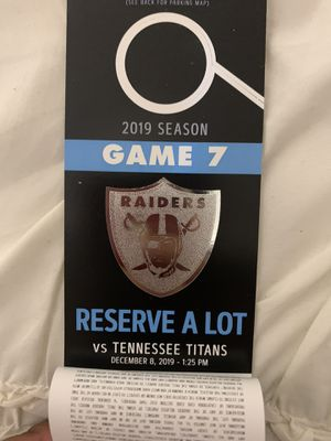 Raiders vs Titans Parking pass for Sale in Fremont, CA