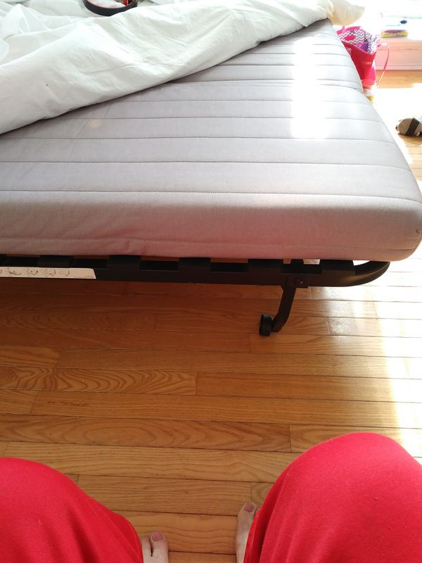 Jackets. Nice strong futon opens to full bed. Metal frame strong